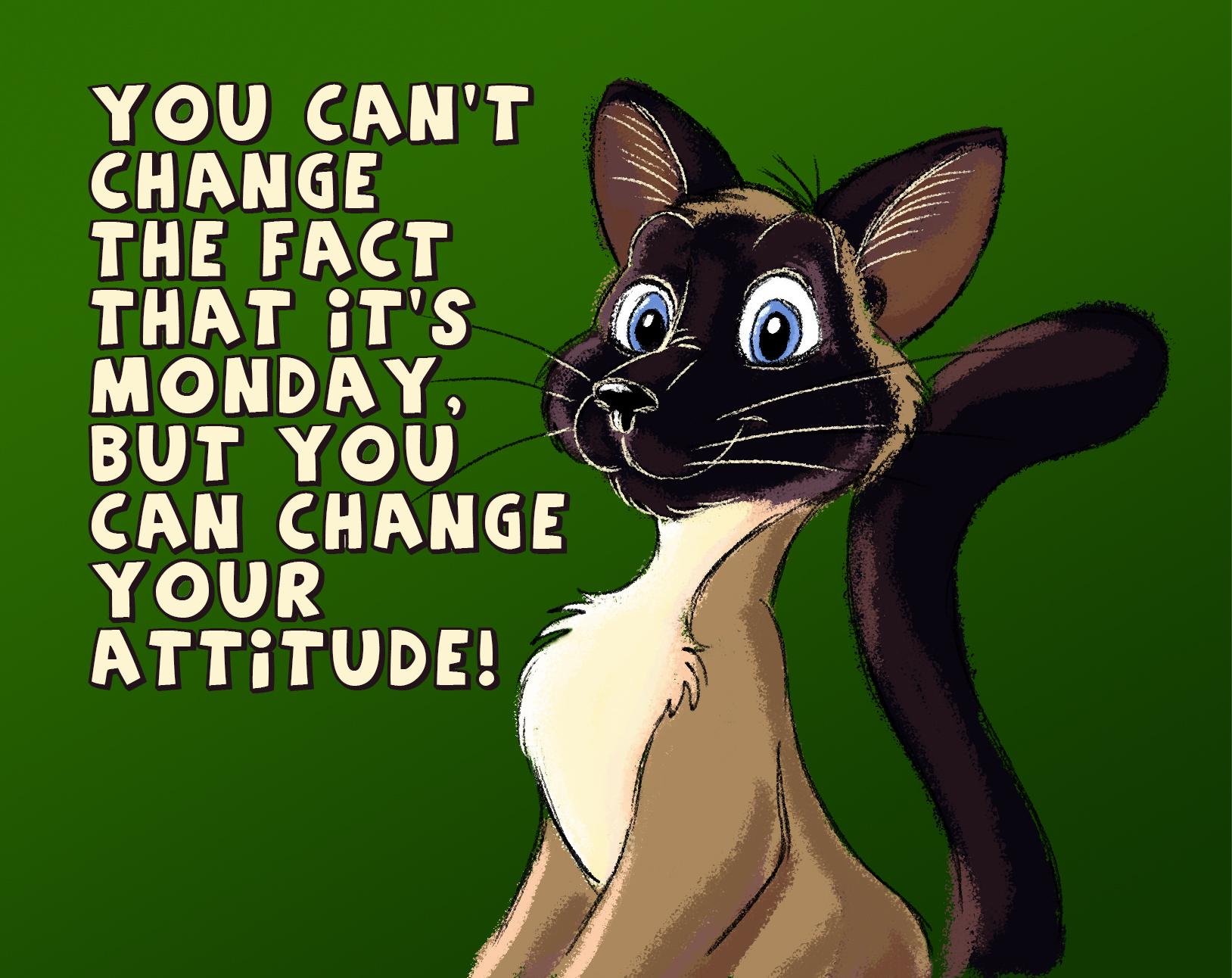 Illustraton: Montag mit Siamkatze